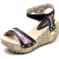 8519ae1187 Sandalia Top Franca Shoes Betina Beker Plataforma Anabela Feminina -  Feminino-Preto