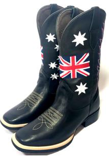 Bota Texana Country Texas Gold Bico Quadrado Inglaterra Preta Preto