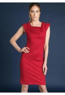 Vestido Com Decote Quadrado Vermelho