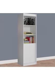 Estante Para Livros 2 Portas 4 Prateleiras 1075R Branco Fosco - Atualle Móveis