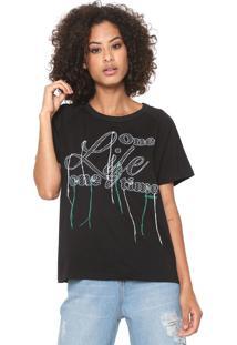 Camiseta Sommer Bordada Preta