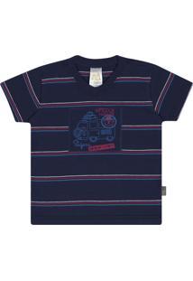 Camiseta Pulla Bulla Meia Malha Azul Marinho
