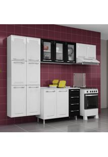 Cozinha De Aço Compacta Criativa 13 Portas 3 Com Vidro Branco/Preto - Itatiaia