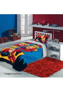 Edredom Os Incríveis® Solteiro- Azul & Vermelho- 150Lepper