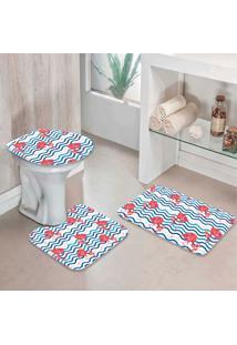 Jogo Tapetes Para Banheiro Flamingos Traços - Único
