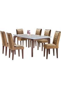 Conjunto De Mesa Para Sala De Jantar Tampo De Vidro Com 6 Cadeiras Mel-Rufato - Animalle Chocolate / Off White / Café