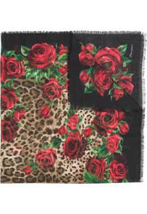 Dolce & Gabbana Cachecol Com Estampa Floral - Marrom