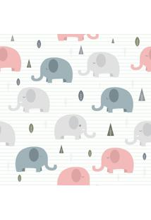 Papel De Parede Adesivo Elefantes Com Listras (0,58M X 2,50M)