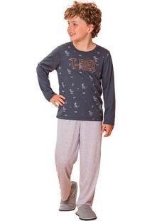 Pijama Menino Longo Infantil T-Rex Pai E Filho Luna Cuore Premium