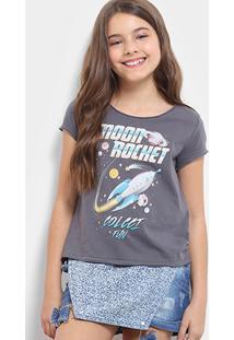 Camiseta Infantil Colcci Estampada Feminina - Feminino-Preto
