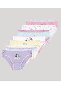 Kit De 7 Calcinhas Infantis Minnie Multicor