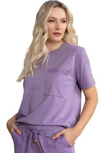 Camiseta Feminina Biamar Com Bolso Lilas - U