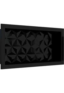 Nicho Para Banheiro Em Mármore Sintético Preto Textura Triangular 60X30Cm - Cozimax - Cozimax
