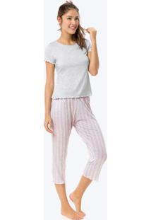 Pijama Cinza Claro Pantacourt