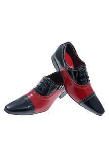Sapato Masculino Italiano Oxford Em Couro Art Sapatos Vermelho Chess