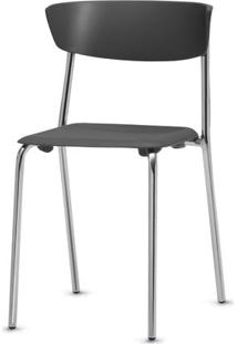 Cadeira Bit Assento Preto Base Cromada - 53672 - Sun House