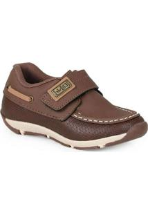 Sapato Mocassim Infantil Klin Velcro Marrom
