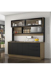 Cozinha Compacta Com Cooktop Vitrum I 6 Pt 3 Gv Castanho E Preta