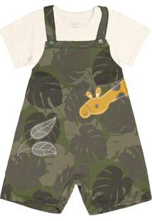 Camiseta Com Jardineira Rovitex Kids Verde