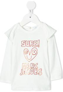 Little Marc Jacobs Blusa Mangas Longas Com Logo - Branco
