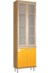 Paneleiro Kiko 4 Pt Com Vidro Argila Texturizado E Iacca Amarelo