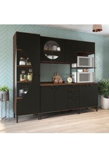 Cozinha Compacta Bett 9 Pt 3 Gv Jacarandá E Preta