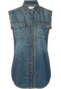 Saint Laurent Colete Jeans Desgastado - Azul
