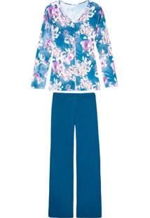 Pijama Feminino Daniela Tombini Floral Microfibra