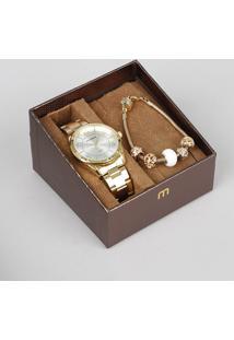Kit De Relógio Analógico Mondaine Feminino + Pulseira - 76651Lpmvde1Ke Dourado