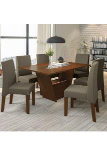 Mesa De Jantar Com 6 Cadeiras Csj141Waf – Kappesberg - Cacau