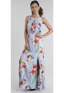 Vestido Longo Estampado Floral Com Fendas Azul Claro