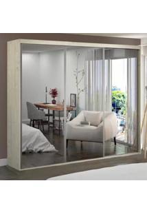 Guarda-Roupa Casal 3 Portas De Espelho 100% Mdf 1985E3 Marfim Areia - Foscarini