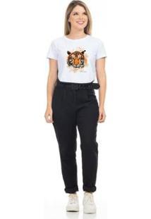 Camiseta Cropped Clara Arruda Viés Estampada 18020019 Feminina - Feminino-Branco