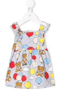 Moschino Kids Vestido Com Estampa De Logo Gráfico - Cinza