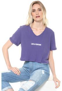 Camiseta Cropped Lança Perfume Lettering Roxa