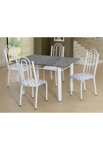 Conjunto De Mesa Luiza Com 4 Cadeiras Branca Capitonê