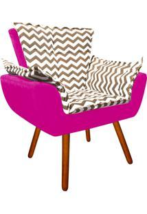 Poltrona Decorativa Opala Suede Composê Estampado Zig Zag Bege D81 E Suede Pink - D'Rossi