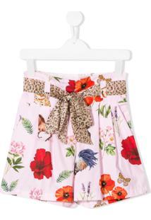 Monnalisa Short Com Estampa Floral - Rosa