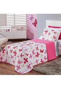 Cobre Leito Butterfly Pink Casal 03 Peças Dupla Face 150 Fios
