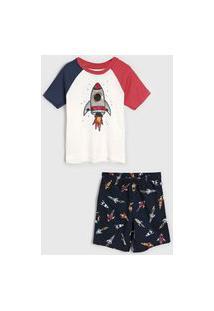 Pijama Hering Kids Curto Infantil Foguete Off-White/Azul-Marinho