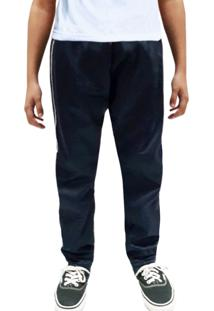 Calça Infantil Esporte Tecido Agasalho Nba Inverno Cós De Elástico Bolso Traseiro 0376 Azul Marinho - Kanui