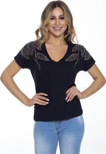 T-Shirt Cavallari Folhas Ombro Bordada A Mão Preta