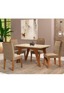 Conjunto De Mesa Selena 1,30Cm Para Sala De Jantar Com 4 Cadeiras Paola-Cimol - Savana / Offwhite / Joli