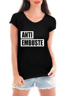 Camiseta Criativa Urbana Anti Embuste Feminina - Feminino-Preto