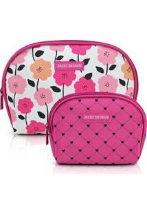 Kit De Necessaire Jacki Design De 2 Peças Meia Lua Feminino - Feminino-Pink