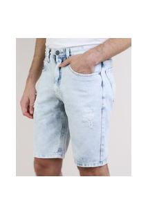 Bermuda Jeans Masculina Slim Destroyed Com Bolsos Azul Claro