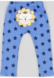 Calça Infantil Leão Estampada De Estrelas Azul