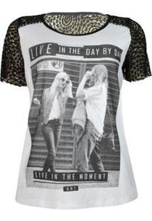 Camiseta Knt T-Shirt Renda - Feminino-Branco