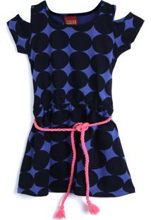 Vestido Kyly Poás/Bolinhas Azul
