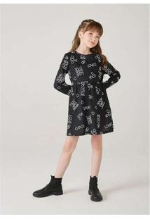 Vestido Infantil Menina Manga Longa Com Estampa Pr